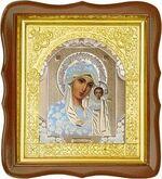 Казанская Б.М., средняя аналойная икона, фигурный киот (Д-17фс-07)