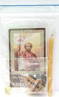 Константин. Святой равноапостольный император. Набор для домашней молитвы (Zip-Lock). Лик, молитва, свечка, ладан, крестик