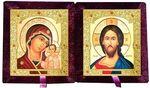 Складень бархат (Б-21-7-БВС) цвет бордовый, средний, византийский стиль, лик 15х18