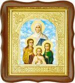 Вера, Надежда, Любовь, и мать их София, средняя аналойная икона, фигурный киот (Д-17фс-70)
