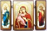 Складень МДФ (140), тройной, Владимирская Б.М. с архангелами, 13 Х 8 см.