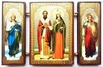 Складень МДФ (142), тройной, Киприан и Устинья с архангелами, 13 Х 8 см.