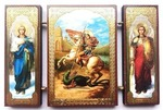 Складень МДФ (147), тройной, Георгий Победоносец с архангелами, 13 Х 8 см.