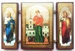 Складень МДФ (153), тройной, Ксения Петербургская с архангелами, 13 Х 8 см.