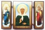Складень МДФ (156), тройной, Матрона Московская с архангелами, 13 Х 8 см.