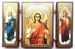 Складень МДФ (160), тройной, Михаил, Арх. (пояс) с архангелами, 13 Х 8 см.