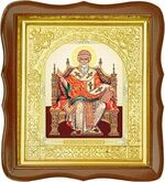 Спиридон Тримифунтский (трон), средняя аналойная икона, фигурный киот (Д-17фс-76)