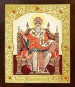 Спиридон Тримифунтский (трон). Икона в окладе средняя (Д-21-76)