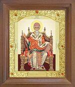 Спиридон Тримифунтский (трон). Икона в деревянной рамке с окладом (Д-26псо-76)