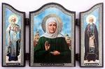 Складень МДФ (129), тройной арочный, Матрона Московская, с Предстоящими, 13 Х 8,5 см.