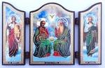 Складень МДФ (60), тройной арочный, Троица Новозаветная, с Архангелами, 13 Х 8,5 см.
