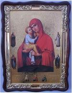 Почаевская Б.М. с предстоящими, в фигурном киоте, с багетом. Храмовая икона (60 Х 80)