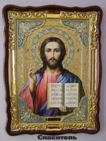 Спаситель, в фигурном киоте, с багетом. Храмовая икона (60 Х 80)