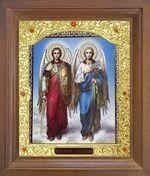 Михаил и Гавриил, Св. Архангелы. Икона в деревянной рамке с окладом (Д-26псо-98)