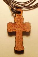 Крест нательный дерево (4), на шнурке, большой, березовый щит
