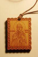 Матрона, образ на шнурке дерево, березовый щит