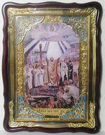 Крещение Руси князем Владимиром, в фигурном киоте, с багетом. Большая Храмовая икона (60 Х 80)