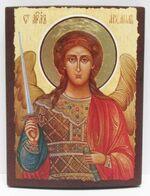 Арх. Михаил (пояс, светлый фон), икона под старину JERUSALEM прямая (11 Х 15)