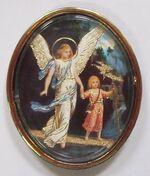 Ангел Хранитель с детьми. Икона автомобильная овал. Упак. 100 шт.