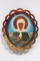 Матрона Московская. Икона автомобильная овал (72х62), ромашка. Упак. 100 шт.