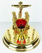Канун круглый на 7 свечей, латунь, литье, Голгофа малая (ЗЛ)