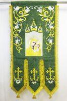 Хоругвь текстиль, бархат, двух-сторонняя вышивка, зеленая. Казанская Б.М. + Николай Чудотворец