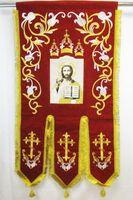 Хоругвь текстиль, бархат, двух-сторонняя вышивка, красная. Спаситель + Троица
