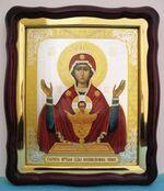 Неупиваемая Чаша Б.М., в фигурном киоте, с багетом. Большая аналойная икона (28 Х 32)