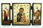 Складень МДФ (54), тройной, Иверская - Афонская Б.М. с архангелами, 13 Х 7,5 см.