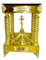 Подставка под ковчег четырех-опорная, низкая, с крестом, с литыми накладками, с литыми ножками, с красным бархатом