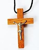 Крест нательный дерево (11), на шнурке, малый, с распятием