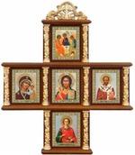 Иконостас домашний в резном киоте, крест, 5 ликов, Пантелеймон, 30 Х 25 см.