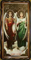 Михаил и Гавриил, Св. Архангелы, в фигурном киоте, с багетом. Большая Храмовая икона 120 х 230 см.