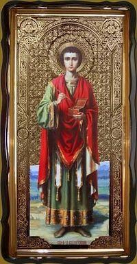Пантелеимон (рост), в фигурном киоте, с багетом. Большая Храмовая икона 120 х 230 см.