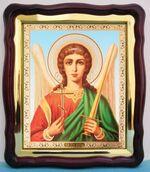 Ангел Хранитель (пояс). в фигурном киоте, с багетом. Большая аналойная икона (28 Х 32)