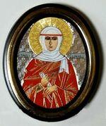 Ангелина. Икона настольная малая, зол. кант, овал. (50 Х 65)