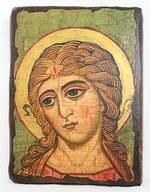 Ангел златовласый, икона под старину, сургуч (17 Х 23)