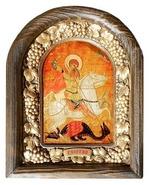 Георгий, убивающий змея. Икона Иерусалимская арочная