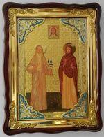 Варвара и Елизавета, в фигурном киоте, с багетом. Храмовая икона (60 Х 80)