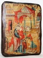 Введение во Храм Пресвятой Богородицы, икона под старину, сургуч (13 Х 17)
