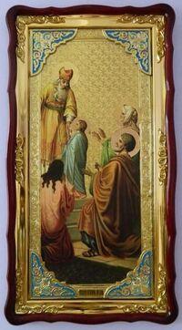 Введение во Храм Пресвятой Богородицы, в фигурном киоте, с багетом. Большая храмовая икона (61 Х 112)