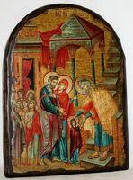 Введение во Храм Пресвятой Богородицы, икона под старину, сургуч, АРКА (17 Х 24)