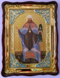 Вениамин Петроградский, в фигурном киоте, сбагетом. Храмовая икона (82 Х 114)