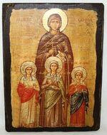 Вера, Надежда, Любовь и мать их София, икона под старину, сургуч (17 Х 23)