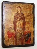 Вера, Надежда, Любовь, икона под старину, сургуч (13 Х 17)