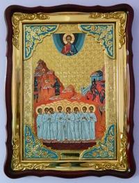 Вифлеемские младенцы, в фигурном киоте, с багетом. Храмовая икона (60 Х 80)