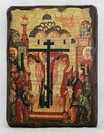 Воздвижение Креста Господня, икона под старину, сургуч (17 Х 23)