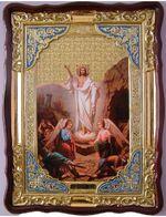 Воскресение Христово, в фигурном киоте, с багетом. Большая Храмовая икона (82 Х 114)