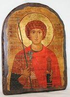 Георгий Победоносец (пояс), икона под старину, сургуч, АРКА (17 Х 24)