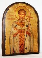 Григорий Двоеслов, Святитель, Папа Римский, икона под старину, сургуч, АРКА (17 Х 24)
